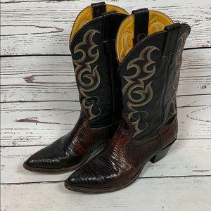 Nocona Black & Brown Leather Cowboy Boots 7B